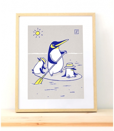 PINGOUINS PADDLE - Sérigraphie A3
