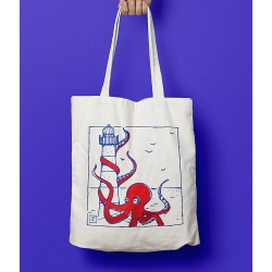 GRAND POULPE ROUGE- Tote bag