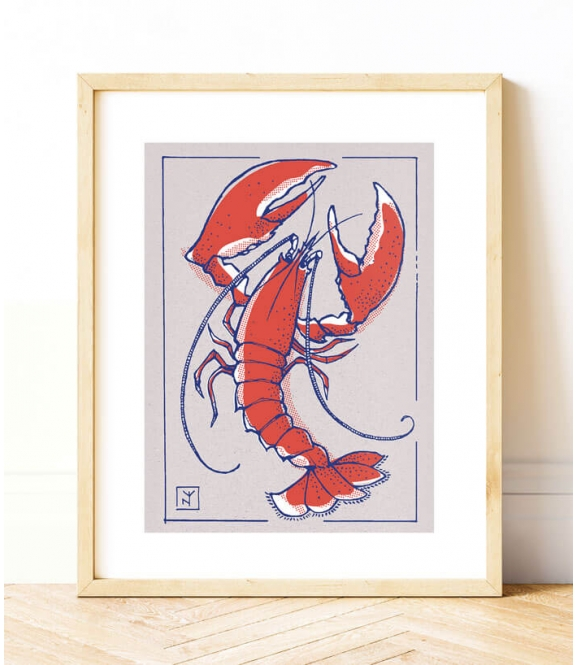 HOMARD ROUGE - Sérigraphie A3